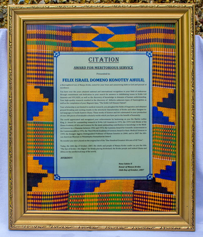 Award Citation for Meritorious Service presented by Nene Sakite II